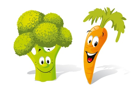 broccoli and carrot  Vector