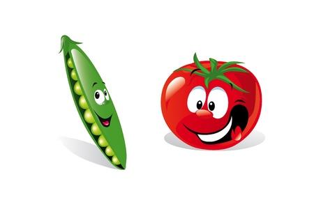 pea and tomato  Vector