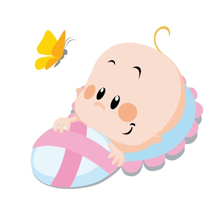 baby with butterfly  Stock Vector - 14951752