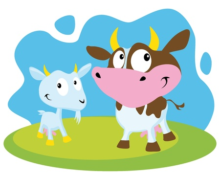 cow and goat Stock Vector - 14951801