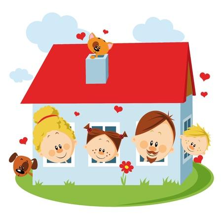 familia en jardin: Casa de dos viviendas Vectores