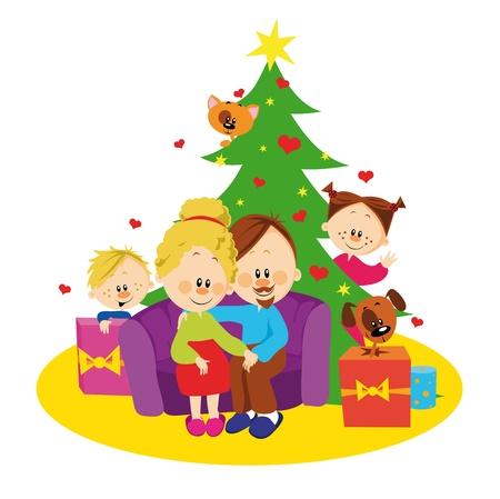 familia unida: Familia y �rbol de navidad
