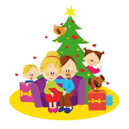 Family and christmas tree  Vector