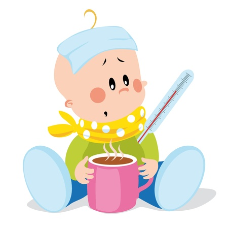 cold compress: ill baby Illustration