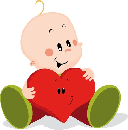 baby with heart pillow Vector