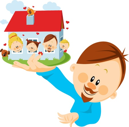 man with house in hand Vector