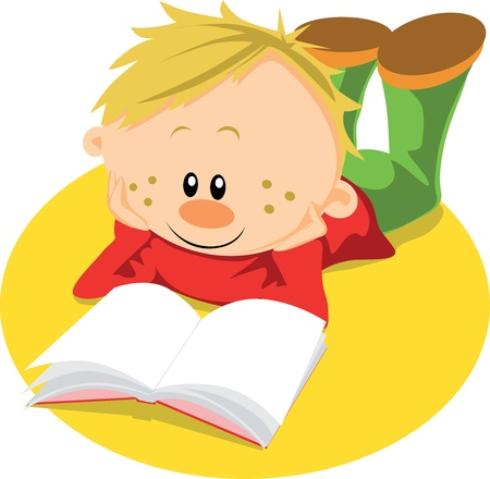 literature: boy with book learn