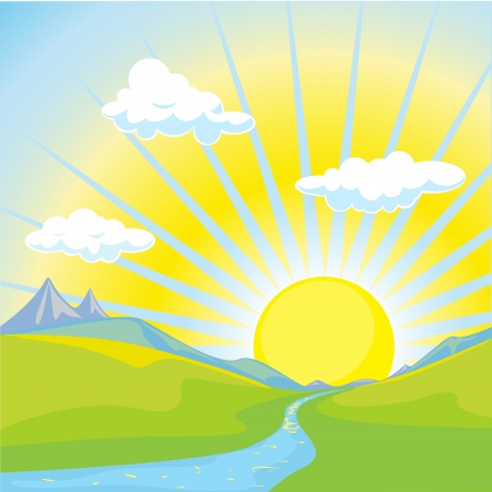 retro sunrise: sunny landscape background