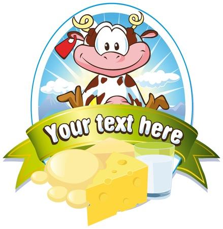 edam: milk label with cow