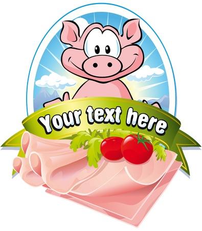 ham: natuurlijke vlees label Stock Illustratie