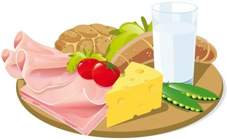 curative: breakfast on wooden plank Illustration