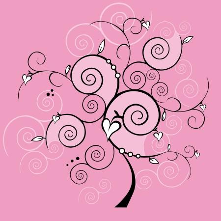 pink design valentine tree Vector