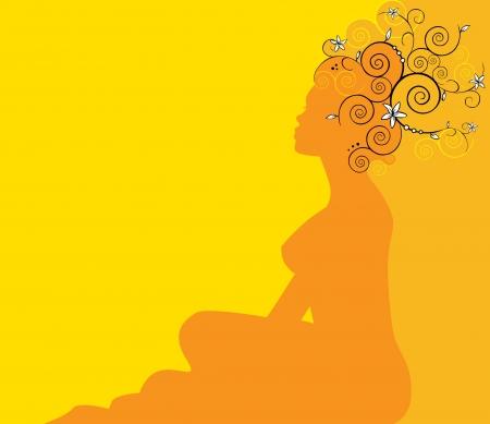 woman profile: floral woman profile silhouette Illustration