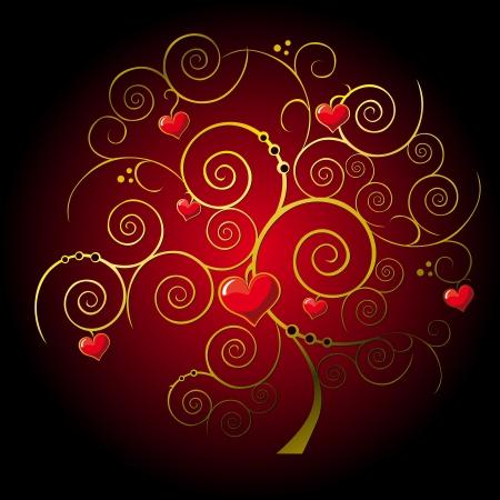 valentine gold tree Vector