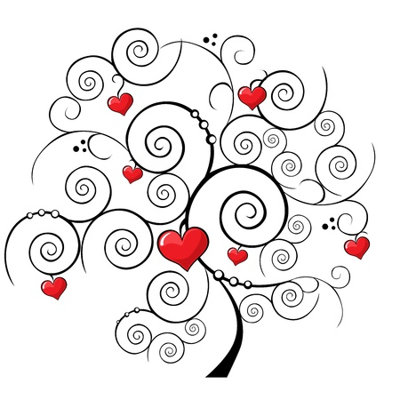 valentine tree on white background Illustration