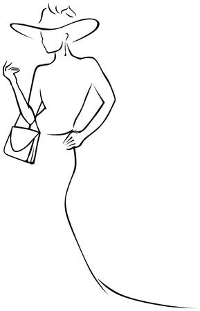 sophistication: black lines woman in hat  Illustration