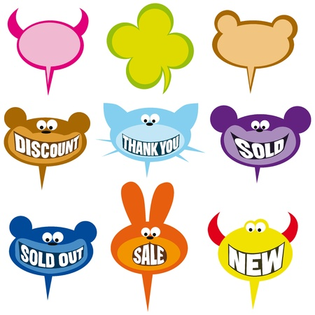 selling labels and bubbles Vector