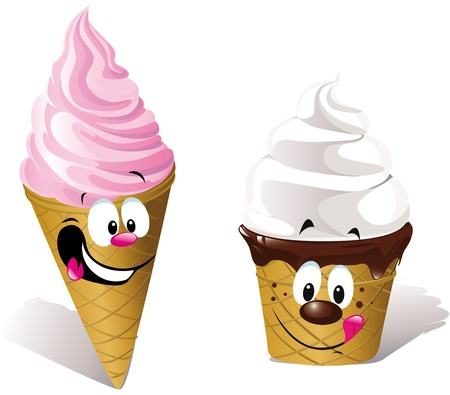 licking in isolated: Stock Vector Illustration  two happy Ice creams