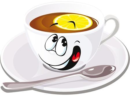 black tea with lemon  Illustration