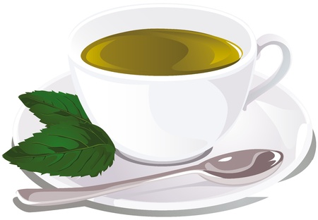 steam of a leaf: cup of mint tea  Illustration