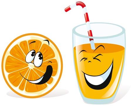 jus orange glazen: orange en sap Stock Illustratie
