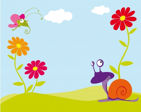 floral background with butterfly and snail Illustration