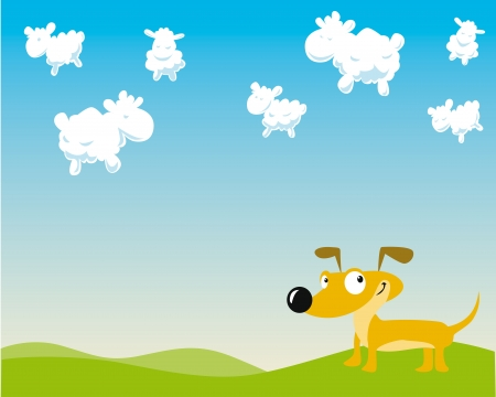 dog is counting sheep on the sky Vector