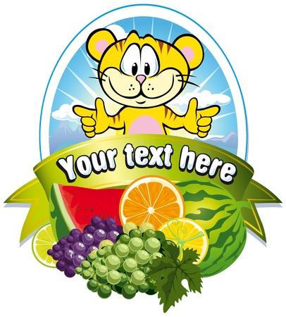 Tropische Frucht Label Standard-Bild - 15017205