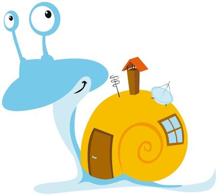 mobil: slak met mobil home Stock Illustratie