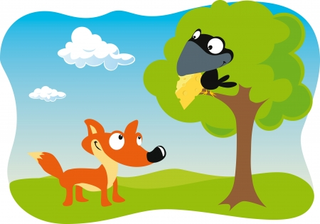 Fuchs und der Rabe mit Käse hält im Schnabel Standard-Bild - 15017219