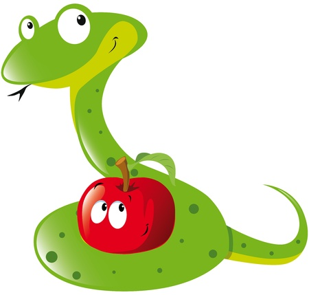 snake symbol: snake and apple Illustration