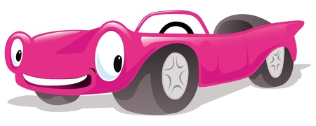 funny car: pink cabriolet car Illustration