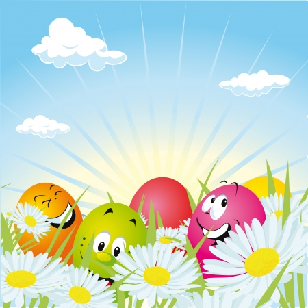 easter eggs hidden in daisy field