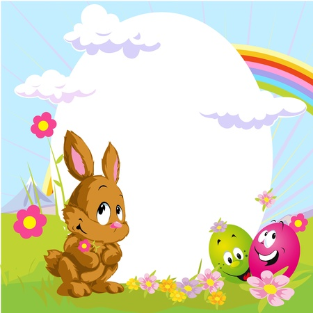 easter frame with bunny and happy eggs