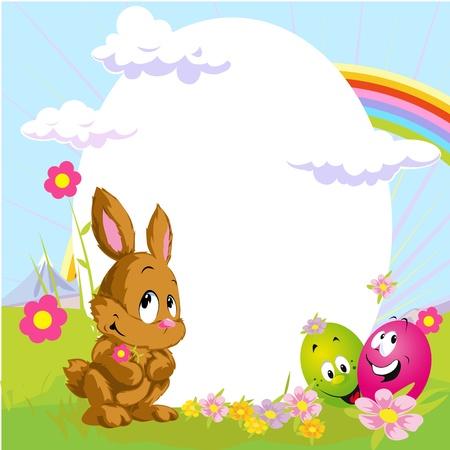 buona pasqua: Pasqua cornice con coniglietto e uova felici