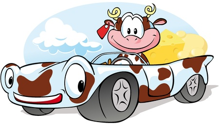 cow cartoon: cow with cheese go by car Illustration