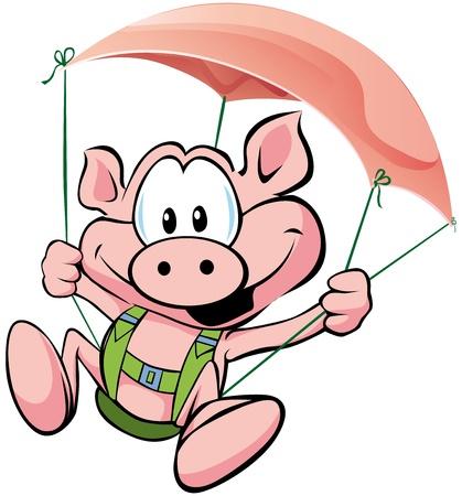chancho caricatura: cerdo volando sobre el jam�n