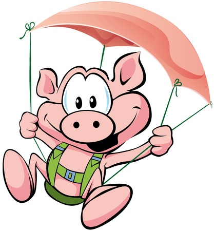 pig flying on the ham Vector