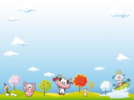 childish: фон сельскохозяйственных животных Иллюстрация