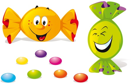 colourful candy: bonbons with happy smile