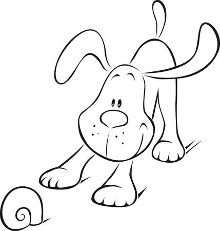 dibujos lineales: perro jugando con su juguete Vectores