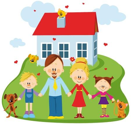 Familia feliz en un umbral de su casa