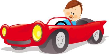 homme conduit cabriolet rouge