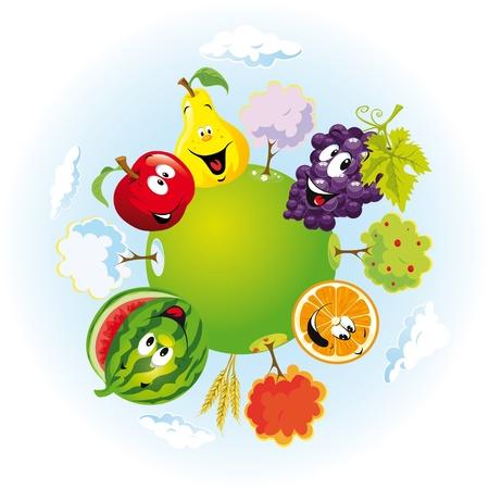 alternating: planeta con las frutas felices Vectores
