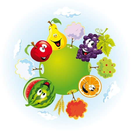 planet with happy fruits