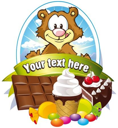 helado caricatura: etiqueta con los dulces y el oso lickerish