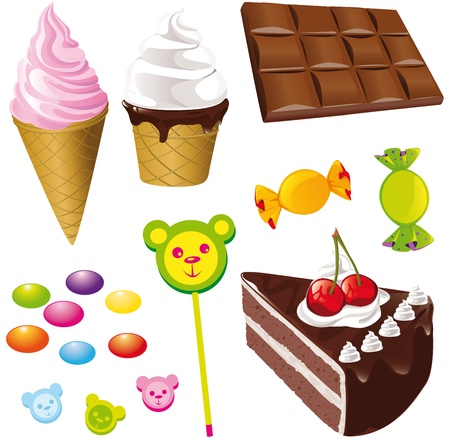 sweets - ice creams chocolate and candy Vector