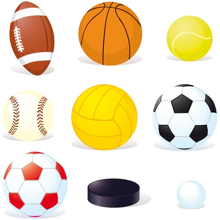 objects equipment: sport balls isoletad on white background Illustration