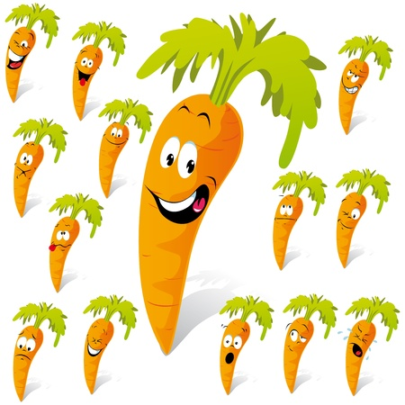 carrot cartoon with many expressions Vector