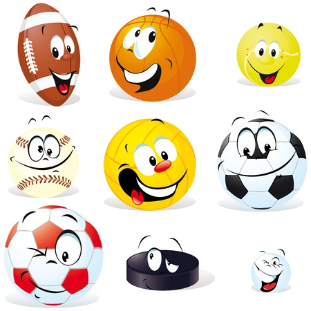 sport balls cartoon with many expressions